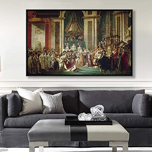 """SIRIUSART Incoronazione di Napoleone I Artista Jacques Louis David Pittura Classica su Tela Stampa su Tela Poster Wall Picture Home Decor (60x96cm) 24""""X38 Senza Cornice"""