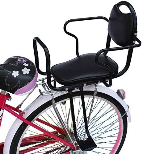 Fahrrad Kindersicherheit Rücksitze, Sitz aus Weichem Leder, Abnehmbare Fahrrad Kindersitze, Armlehnen Pedal Rückenlehnen Halterung, Geeignet für Kinder von 2-10 Jahren,Schwarz