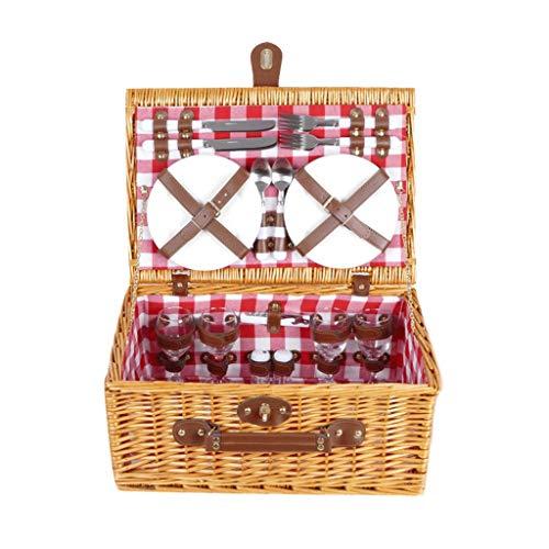 Picknickmand tuin en outdoor picknickmand van wilgentenen voor 4 personen met koelvak en flessenkoeltas
