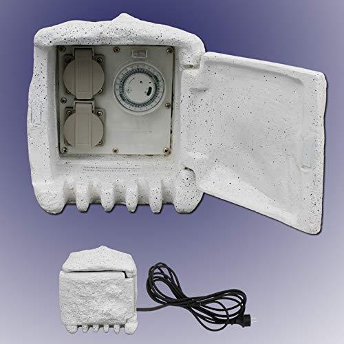 Trango 2-Fach IP44 Steckdose in Granitoptik mit 24H-Zeitschaltuhr TGSTD2T Außen Steckdosen in Steinoptik für Garten, mehrfach Steckdose für Außen inkl. ca. 5 m Zuleitungskabel