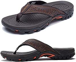 KIIU Mens Flip Flop Indoor and Outdoor Thong Sandals Beach Slippers Brown 2, 11.5 Men