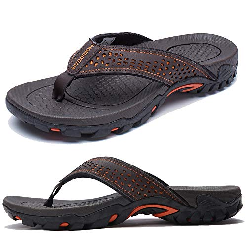 KIIU Mens Flip Flop Indoor and Outdoor Thong Sandals Beach Slippers Brown, 46