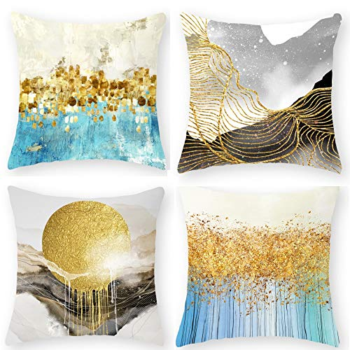 indabyo 4 Pcs 18x18 Inch Sun Cushion Covers, 45x45cm Pillow Cases, Cushion Cover, for Bench Sofa Bedroom Living Room Car Outside (Sunrise Sunset Stripe Mountain)