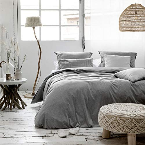 Walra Jersey Wendebettwäsche Birger grau anthrazit 1 Bettbezug 135x200 cm + 1 Kissenbezug 80x80 cm