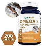 Omega 3 Fish Oil 1200mg 200 Powder Capsules
