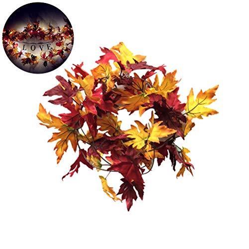 2 m herfstslinger, herfstslinger, esdoornblad lichtsnoer, herfst seizoen, waterdicht herfst esdoornbladeren lichtketting decoratie voor outdoor oogstfeest decoratie & kerstverlichting