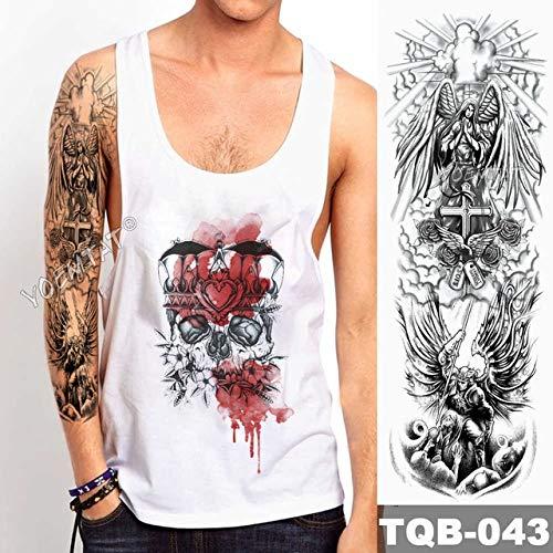 Baobaoshop 3 Piezas Tatuaje de Manga de Brazo Grande Rosa Rosa Etiqueta engomada del Tatuaje a Prueba de Agua Santo ángel Hombre Tatuaje de tótem de cráneo Completo