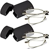 Marc De Rez Foldable Reading Glasses +1.00-2 Pack - Mini Flip Top Cases - Silver Folding Prescription Readers For Men and Women