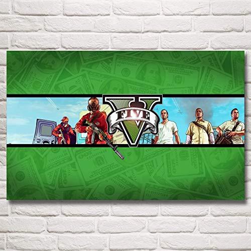 baodanla Kein Rahmen Grand Theft Auto V GTA 5 Spiel Poste und Drucke Kunst Seide NGS Wanddekor Schlafzimmer Dekoration Bild Living50x70cm