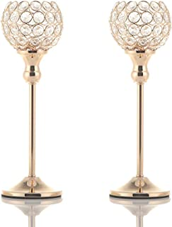 VINCIGANT Gold Crystal Votive Candle Holders for Fireplace Coffee Table Mantle Decor Centerpieces,Pair of 2