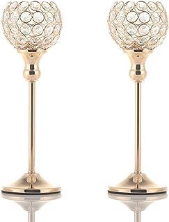 VINCIGANT Bougeoirs Cristal Rond Doré, Décoration Centre de Table Mariage, pour Saint Valentin(2pcs, 33cm de Haut) Emballa...