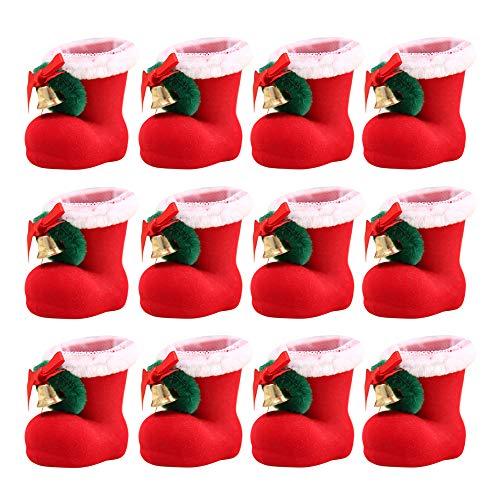 Gobesty Nikolausstiefel zum Befüllen, 12 Stück Rot Klein Plüsch Stoff Weihnachtsstiefel Set Weihnachten Dekoration Geschenktüten