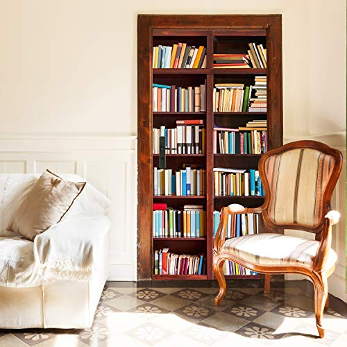 Murimage Deurbehang, boekenrek, 86 x 200 cm, 3D bibliotheek, boek, studium, school, kast, kantoor, leeskamer, fotobehang, inclusief behanglijm