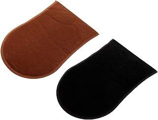 HOMYL 2 Pack Self Tan Velvet Tanner Mitt Mitten Glove Tanning Lotions Mousses Applicator For A Streak Free Application- Black/Brown