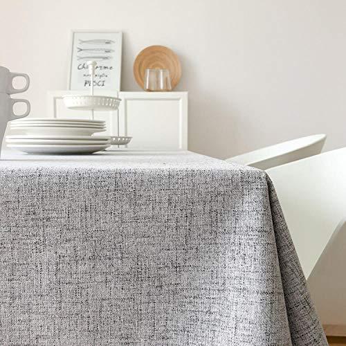 Ahuike Mantel Mesa Rectangular Decorativo Simple Cotton and Linen Household Impermeable Manteles Cocina Light Gray 130×130cm