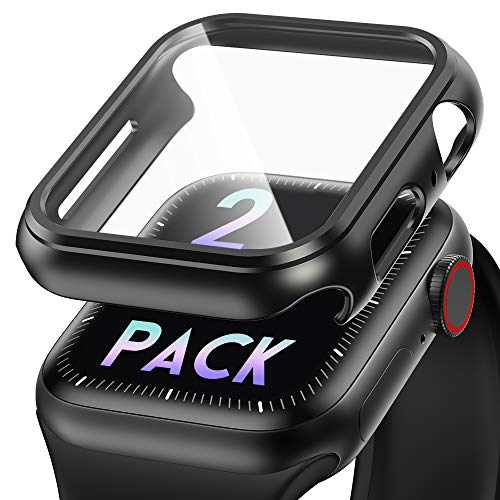 BRG Compatible with Apple Watch Case Series 5 Series 4 44mm Screen Protector, [2- Pack] Ultra Thin PET Film Guard Hard PC Shockproof Bumper Full Coverage for iWatch Series 5/4 (Black)