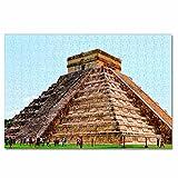 México Cancún Pirámide Maya Rompecabezas para Adultos, 300 Piezas, Rompecabezas de Madera para niños, Regalo de Viaje, Recuerdo, 16.5 × 12 Pulgadas
