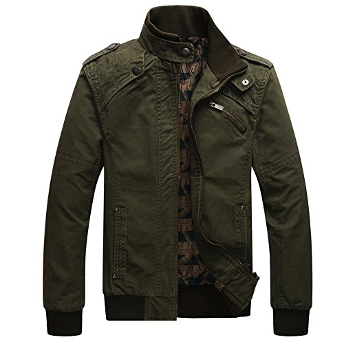 Dwar Men's Casual Long Sleeve Full Zip Fashion Jackets with Shoulder Straps (Large, Deep Army Green)