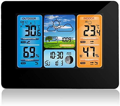Wireless Weather Station Indoor Outdoor Thermometer, Home Digital Wireless Color Forecast Station Temperature and Humidity Monitor Alerts, Barometer, Atomic Clock - Black