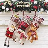 3 unids grandes calcetines de Navidad 3D apliques estilo decoraciones de Navidad para el hogar, Navidad ciervos muñeco de nieve patrón caramelo calcetines regalos bolsa