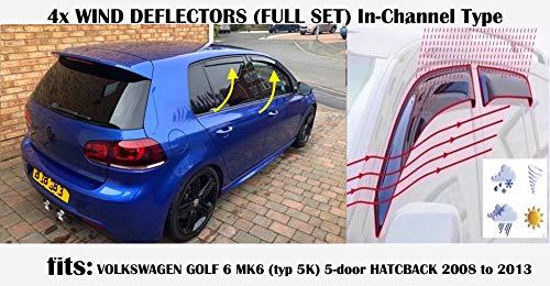 Set di 4 deflettori d\'aria tipo IN-CHANNEL compatibili con VOLKSWAGEN MK6 GOLF 6 HATCHBACK 5 porte R GTI GT 2008 2009 2011 2012 2013 Vetro acrilico Visiere Laterali Deflettori