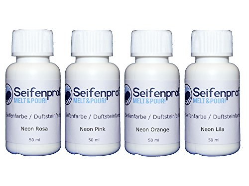 Seifenprofis 4er Seifenfarben - 200ml Sortiment (Fluoreszierend Rosa, Lila, Orange, Pink) 4 x 50ml