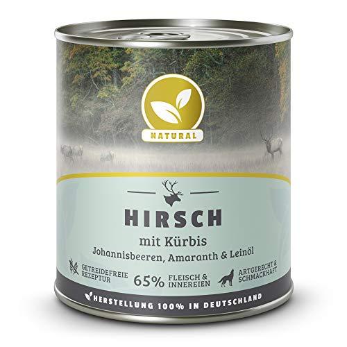 Hundeland Natural | Hirsch + Kürbis | 6 x 800 g | getreidefreies Hundefutter | Nassfutter für alle Hunderassen | viel frisches Fleisch | artgerecht & besonders gut verträglich
