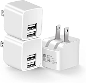 12W USB Wall Charger with Foldable Plug, 3-Pack 2.4A Dual-Port Power Adapter Mini Charging Block Cube Compatible iPad, iPhone 12 11 Pro Max XR/XS/X 8/7/6/6s Plus, Samsung, Moto, HTC& More(ETL Listed)