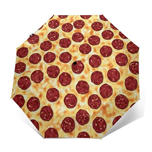 Pepperoni Pizza Windproof Automatic Folding Umbrella Tri-fold Umbrella