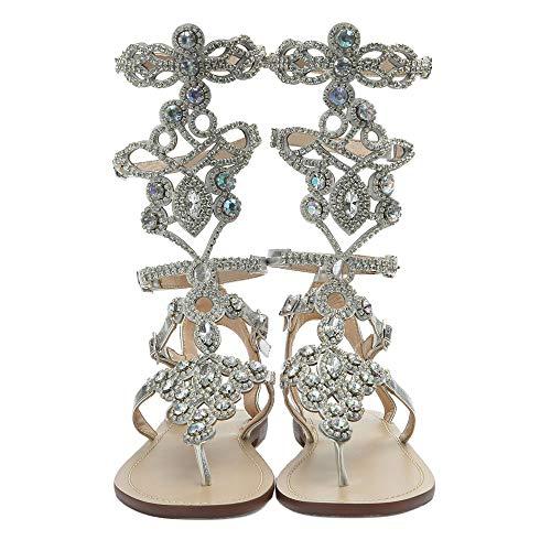Hinyyrin Women's Rhinestone Sandals, Silver Gladiator Sandals, Summer Flat Dress Sandals, Beach, Wedding, Banquet Size 8