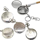 Mcottage Round Pocket Portable Cigarette Ashtray with Lid Keychain by Stainless Steel