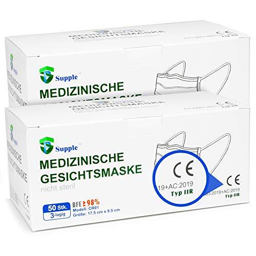 𝗔𝗞𝗧𝗜𝗢𝗡: 2 x 50 Stück OP - Mundschutz – TYP IIR CE Zertifiziert – Einweg Mundbedeckung (Medizinisch)(100 Stück)