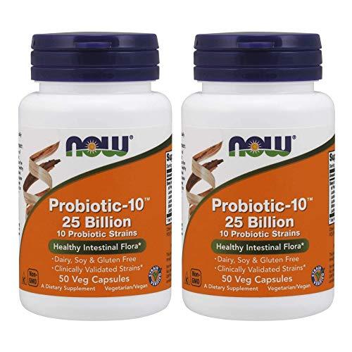 Now Foods Probiotikum-10, Probiotikum, 25 Milliarden, mit 10 probiotischen Stämmen, Stammverifiziert, 50 Gemüsekapseln (2er Pack)