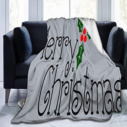 Throw Blanket Feliz Navidad Feliz Año Nuevo Word PNG Suave Ligero para Todas Las Estaciones Manta De Tiro Silla Cálida Manta De Lana De Franela Cozy Home Special Sofá Cama 102X127