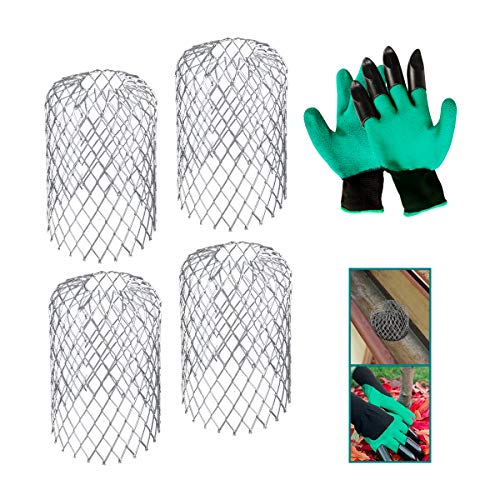 Daisypower 4 Pack Gutter Guard Leaf Filter Expanded Aluminum Mesh Strainer,Downspout Guards Gutters Cover & Rain Protector with 1 Pair of Gloves