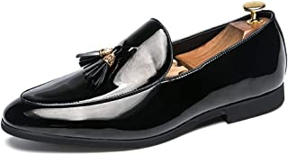 shangruiqi Men's Business Oxford Casual British Fashion Tassel Cover Foot Patent Leather Formal Shoes Abrasion Resistant (Color : Black, Size : 8.5 UK)