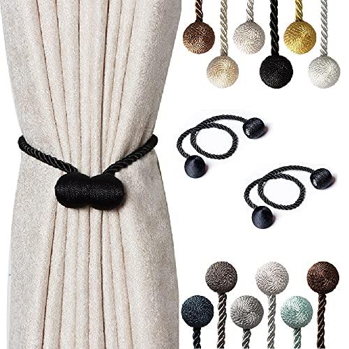 Magnetic Curtain Tiebacks - SBROS (2 pcs ) Modern Upgrade 2021 Drape Tie Backs Decorative Twisted Handmade Rope Holdback for Window Draperies (2, Black)