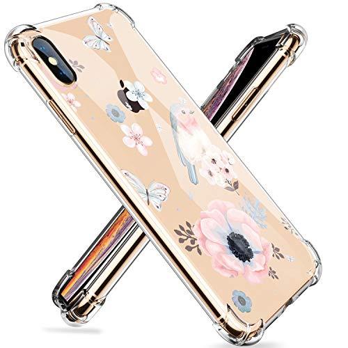 Fulidy Funda para iPhone XS, Clear Soft TPU Gel Silicona Cristal Transparente Patrón de Flor Cubierta Protectora Ultra Delgada para iPhone X (iPhone X, 24)