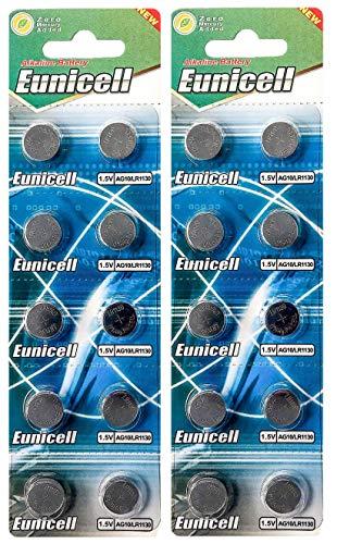 20er Set AG10, LR 54, 389, LR 1130 Batterien Knopfzellen EINWEG Markenware Eunicell
