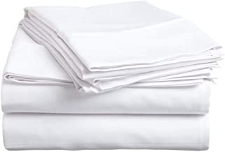 Hotellinen 1500 Thread Count White Solid Egyptian Cotton Very Soft 4-Piece Super Soft Extra Deep Pocket, Sheet Set Fit Upto 27 Inches Deep Pocket, Queen Size