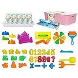 Kinder Sandkasten Spielzeug Set, 2,5 Kg Magischer Ton, Mit Aufbewahrungsbox, Schlossform Und...