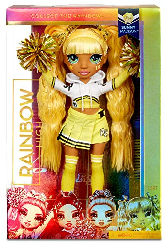 Rainbow High 572053EUC Cheer Sunny Madison - gelbe Fashion Poms, Cheerleader Puppe, Spielzeug für Kinder 6-12 Jahre alt