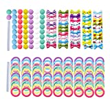 Manshui 200 Pcs DIY Colorful Hair Tie Bow Pom Pom Materials for Toddler Girls, Seamless Elastic Hair Band Materials for Hair Accessories' Making (DIY Material Pack)