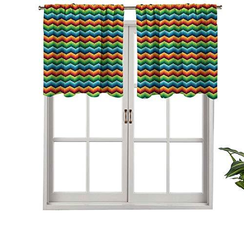 Hiiiman Cortina opaca corta con bolsillo para barra, diseño de espiga en zigzag inspirado en el arte con varios colores, juego de 1, cortinas de cocina de 137 x 45 cm para sala de estar