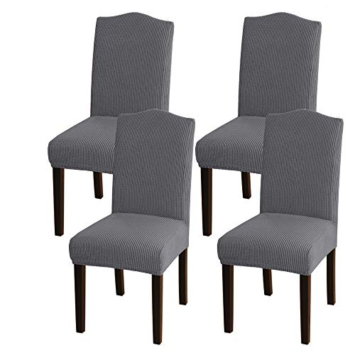 Turquoize Dining Room Chair Covers Stretch Dining Chair Slipcover Parsons Chair Covers Chair Furniture Protector Covers Removable Washable Chair Cover for Dining Room, Hotel, Ceremony (4, Gray)