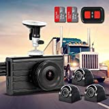 Vsysto Dash Cam Backup Camera (1080P+VGA3) 3CH Waterproof Lens for Semi Truck/Bus/Trailer/Cars/Tractor/Van/RV DVR Recording System with G-Sensor, Loop Recording (Infrared Night Vision)