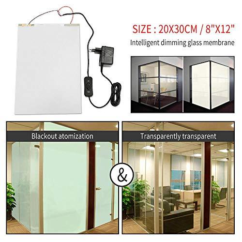 LASISZ 20x30cm PDLC Smart Film Glass Window Film Privacidad Home Office Door Sticker Autoadhesivo Electrocrómico Esmerilado Conmutable