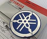 100% GENUINE 55mm Diámetro YAMAHA PUESTA A PUNTO HORQUILLA Pegatina Emblema Adhesivo Logo AZUL / PLATA Elevado Forma de huevo Aleación De Metal Construcción Autoadhesivo Moto / Jet Ski / ATV / Nieve