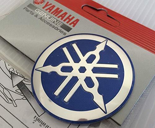 55mm Durchmesser Yamaha Stimmgabel Aufkleber Emblem Logo Blau Silber Erhöht Gewölbt Metall Legierung Konstruktion Selbstklebend Motorrad Jet Ski /Atv / Schneemobil