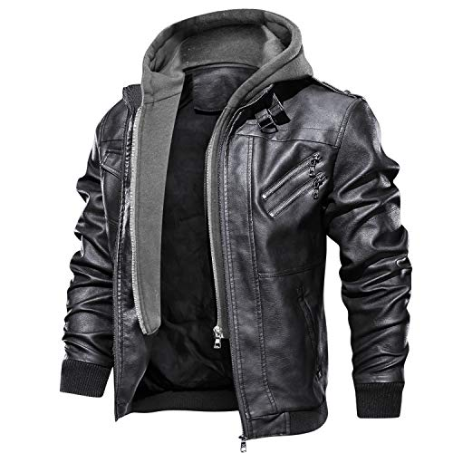 FEDTOSING Men's Vintage Biker Faux Leather Jacket Retro Zip-UP Stand Collar Motorcycle Jackets with Removable Hood (Black-7 XL)